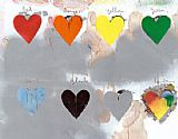 Abstract paintings - Jim Dine Hearts by Unknown Artist