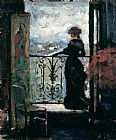 Unknown Artist Lady on a Balcony by Albert Edelfelt painting
