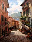 lake como Paintings - Lake Como Italian Village by Paul Guy Gantner