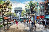 Street paintings - Paris Street Scene by Unknown Artist