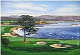 Unknown Artist Pebble Beach painting