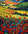 Unknown Artist Poppies In Tuscany painting