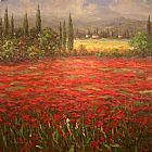 Poppies paintings - Poppy Field Splendor by Unknown Artist
