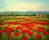 Poppies paintings - Poppy field by Unknown Artist