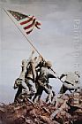 Unknown Artist USMC flag raising on Iwo Jima in WWii painting