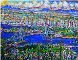 Unknown Artist Vancouver Island Lions Gate Bridge painting