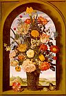 Unknown Artist bosschaert Flower Vase in a Window Niche painting