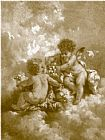 unknown artist charles lutyens cherubs making posies painting