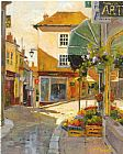 Unknown Artist cobblestone village by marilyn simandle painting