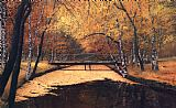 autumn gold rush landscape by peter ellenshaw Paintings - landscape in autumn