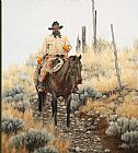 Unknown Artist lone cowboy painting