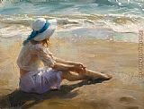 Vicente Romero Redondo girl on the beach painting