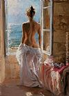 Vicente Romero Redondo looking through window painting