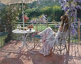 Vicente Romero Redondo rest in garden painting