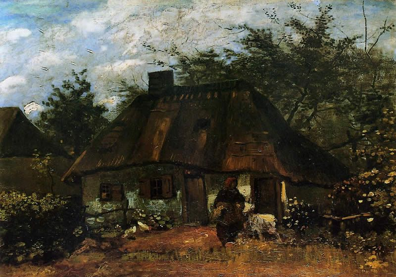 Vincent van Gogh Cottage and Woman with Goat