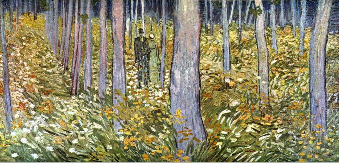 Vincent van Gogh Couple walking in the forest