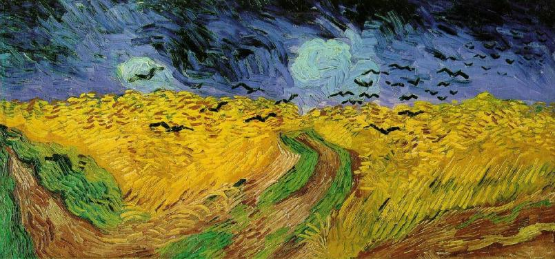 Vincent van Gogh Crows over a Wheatfield