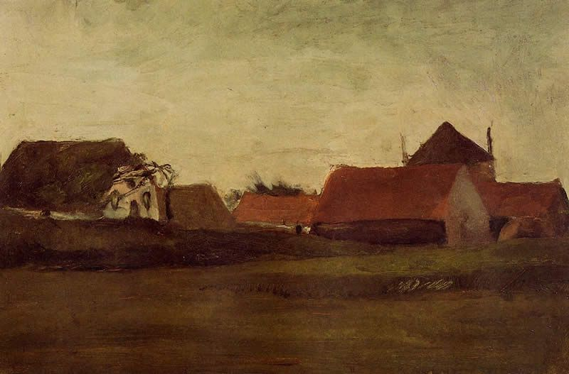 Vincent van Gogh Farmhouses in Loosduinen near the Hague at Twilight
