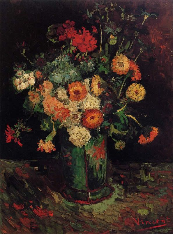 Vincent van Gogh Vase with Zinnias and Geraniums
