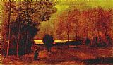 autumn gold rush landscape by peter ellenshaw Paintings - Autumn landscape at dusk