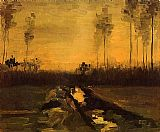 Vincent van Gogh Landscape at Dusk painting