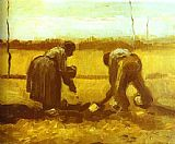 Vincent van Gogh Peasant Man and Woman Planting Potatoes painting