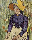 Vincent van Gogh Peasant Woman Against a Background of Wheat painting