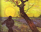 vincent van gogh Paintings - Sower with Setting Sun After Millet