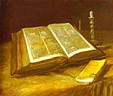 vincent van gogh Paintings - Still Life with Open Bible