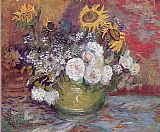 Vincent van Gogh Still life with roses and sunflowers painting
