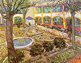 Vincent van Gogh The Courtyard of the Hospital in Arles painting