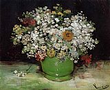 Vincent van Gogh Vase with Zinnias and Other Flowers painting