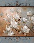 a magnolia on red velvet Paintings - Magnolia Splendor