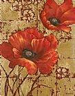 Vivian Flasch Poppies on Gold I painting