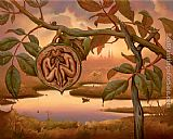 Vladimir Kush walnut of eden painting