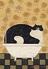 Warren Kimble Cat in Hot Tin Tub painting