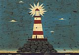 Lighthouse paintings - Lighthouse I by Warren Kimble