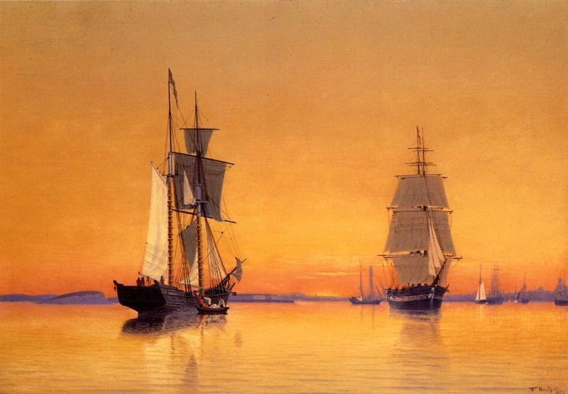 William Bradford Ships in Boston Harbor at Twilight