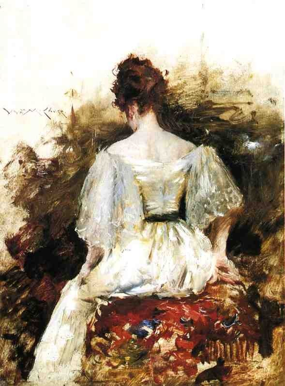 William Merritt Chase Portrait of a Woman in a White Dress