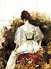 red dress Canvas Prints - Portrait of a Woman in a White Dress