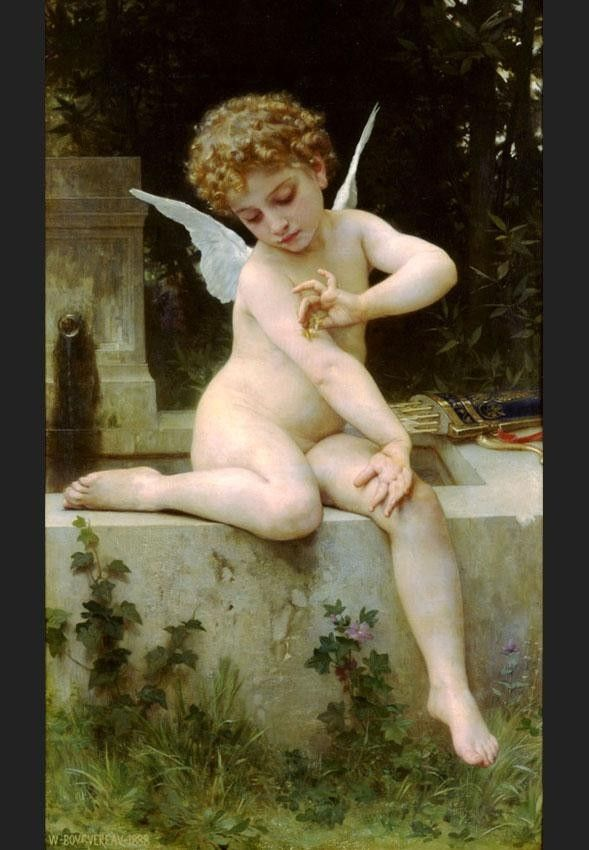 William Bouguereau Cupid with a Butterfly