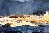 Winslow Homer Fishing the Rapids Saguenay painting