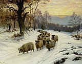 Wright Barker A Shepherd and his Flock on a Path in Winter painting
