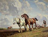Wright Barker Ploughing The Fields painting