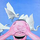 funny paintings - Sky Animal Human being by Yue Minjun