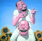 funny paintings - Sunflowers by Yue Minjun