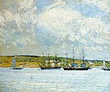 childe hassam A Parade of Boats painting