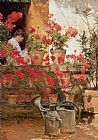 childe hassam Geraniums painting