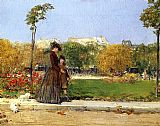 childe hassam In the Park, Paris painting