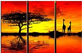 landscape AFRICAN SUNSET II painting